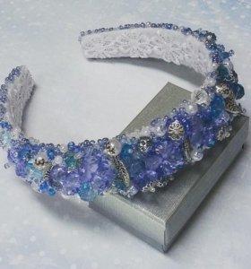 """Ободок для волос """"Голубые кристаллы"""""""
