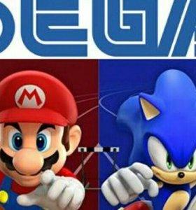 Игровые приставки Sega Mega Drive 2 и Денди 8 бит