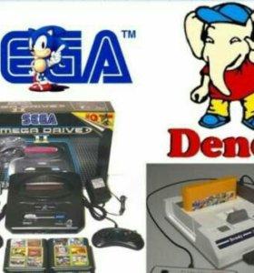 Приставки игровые Sega и Денди в ассортименте