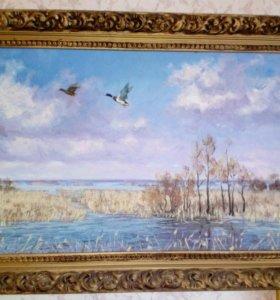 Картина утки на озере