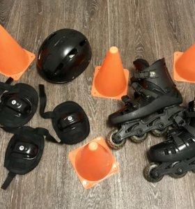 Ролики с защитой и шлемом