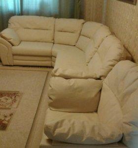 Диван угловой-выдвижной кожаный с креслом