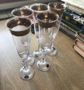 Фужеры свадебные Богемия (Чехия) для шампанского