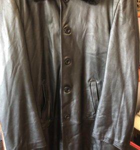 Мужской кожаный плащ/ куртка