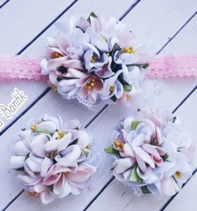 Бантики канзаши  для девочек handmade