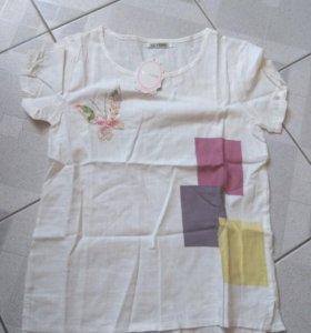 Новая женская футболка лен ,размер м