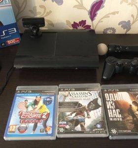 PS 3 500 gb с играми, джостик, PS move