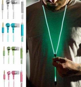 Светящиеся металлические наушники с микрофоном