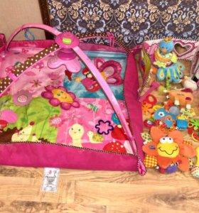 Развивающий коврик Tiny Love и мешок игрушек