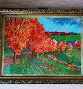 Картина вышитая бисером Осень