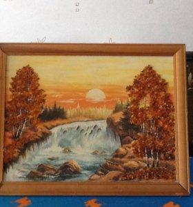 Картина ручной работы с янтарем