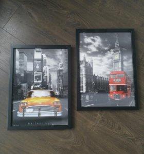 Постеры 3D в раме Нью-Йорк и Лондон
