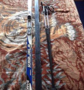 Беговые лыжи170см + крепление + палки 110см