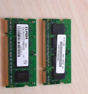 Память для ноутбука Elpida 1 ГБ 2Rx16 PC2-5300S-5
