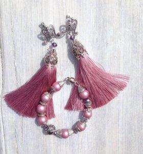 Комплект украшений - браслет и серьги кисти