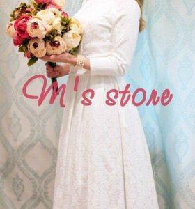 Эксклюзивное свадебное платье из хлопка.