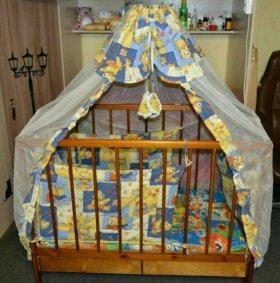 Кроватка детская,бандахил,бортики,матрас.