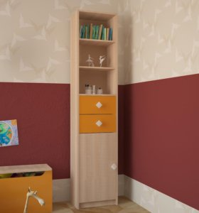 Новый стеллаж «Жили-Были» Оранжевый (МДФ)