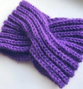 Вязаная повязка на голову шапка