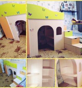 Детская кровать-чердак+матрас(ортопедический)