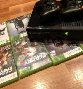 Xbox 360 500Gb + 2 геймпада и 8 дисков