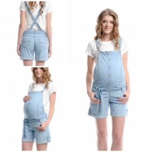 Комбинезон-шорты для беременных джинсовый