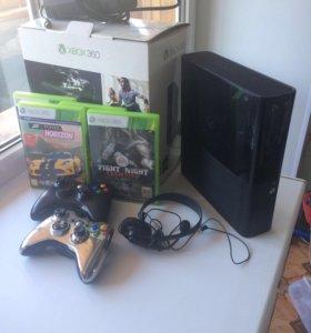 Xbox 360 250гб 2 джойстика наушником, и топ игры