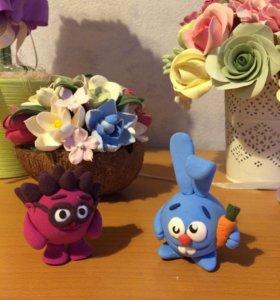 Цветы ручной работы и фигурки из японской глины