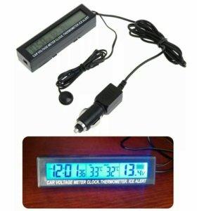 Часы с термометром и вольтметром.
