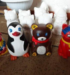 Гипсовые фигурки по 100 рублей