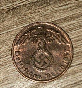 Монета 3 рейха. 1 рейхспфенниг.