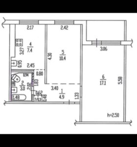 Квартира, 2 комнаты, 43.1 м²
