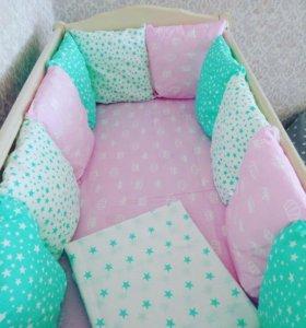 бортики для детской кроватки +постельное