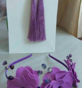 Ободок и серьги-кисточки ручной работы