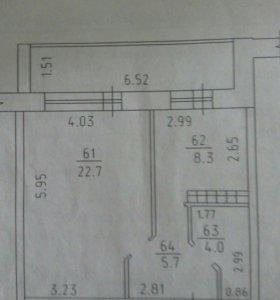 Квартира, 1 комната, 40.7 м²