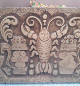 Резная деревянная картина ручной работы