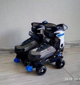 Раздвижные роликовые коньки с парными колесами