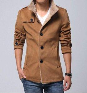 Мега Стильное новое пальто,куртка, кашемир с мехом