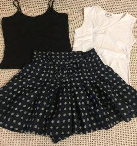Шелковая юбка-шорты
