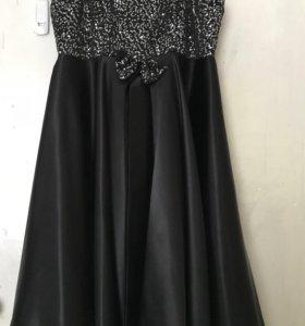 Платье атласное на выпускной