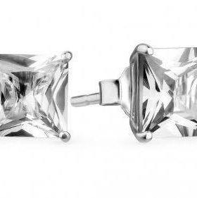 Серьги серебряные гвоздики 925 с цирконами унисекс