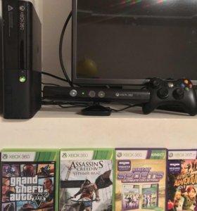 Xbox360(250гб)+HDMI+кинект+17 игр.