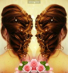 Парикмахер причёска укладка вечерняя свадебная