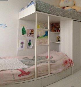 Кровать детская , 2 х ярусная .