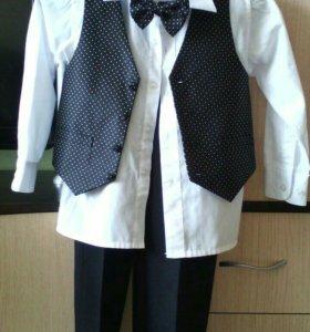 Костюм, детский, (жилет +брюки +рубашка.)