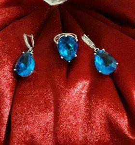 Набор с голубыми камнями серебро 925 пробы