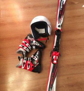Горные лыжи детские + ботинки + шлем