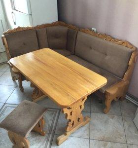 Кухонный уголок ,стол,стул ручной работы!!!