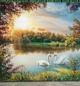 Картина акрил холст рассвет на озере