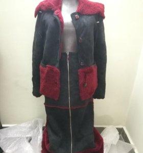 Дубленый натуральный костюм юбка+куртка